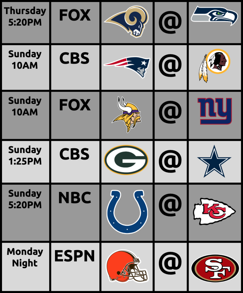 "The Portland Metro Area Gets ""OK"" NFL Games: Week6"